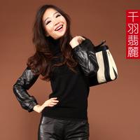 Lantern sleeve sheepskin genuine leather sleeves shirt plus cotton women's genuine leather clothing sweater basic shirt