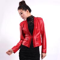 Genuine sheepskin leather clothing female short design leather clothing slim outerwear diamond motorcycle