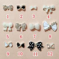 100pcs Pearl 3D Bow Tie Nail Bowtie Alloy Slices Rhinestones Nail Art Decoration Tips DIY  free shipping PleaseNote Model