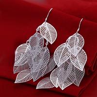 Free shipping lowest price wholesale for women's 925 silver earrings 925 silver fashion jewelry leaf drop Earrings SE214