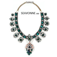 Christmas gifts Freeshopping high-quality vintage shourouk  Luxurious green crystal flower  pendants statement  bib necklacesN