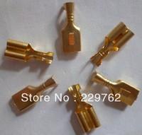 Free Shipping 100PCS 6.3mm Crimp Terminal Female Spade Connector The copper terminals Splice Terminal