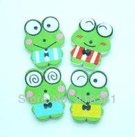 100Pcs Frog Random Mixed Lovely Cartoon Wood Sewing Buttons DIY Scrapbooking 2.2x1.7cm  A00436