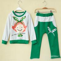 Autumn girl big butterfly pattern Terry Cotton cartoon leisure suit sportswear 1284457492