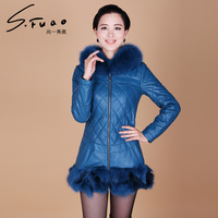 Women's Genuine Sheepskin Leather Down Parkas Coats 2013 Fox Fur Collar Outerwear Plus Size VK1108