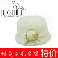 Female elegant intellectuality women's bucket hats thermal rabbit fur bucket hat autumn and winter