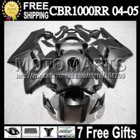 ALL Black 7gifts+Tank For HONDA Injection CBR1000 RR 04-05 Q7982 CBR Matte Flat 05 1000 CBR1000RR 1000RR 04 05 2004 2005 Fairing