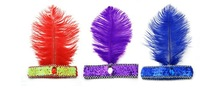 Free Shipping Feather  Elastic Headband hair band Party Costume evening performances headdress 5Pcs/lot