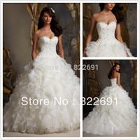 2015 Elegant A-Line Sweetheart Beaded Lace Organza White/Lvory Custom-made Wedding Dress