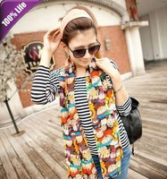 Free Shipping! Autumn Fashion Ladies Shawl Scarves Long Style Cartoon Chiffon Scarf for Women 278