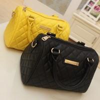 mango bag sewing thread plaid bucket handbag bos   portable women's messenger bag