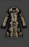 Autumn & Winter Catwalk Fashion Women Peter Pan Collar Luxurious Gold Embroidery Woolen Blends Coat  Royal Trench Coat
