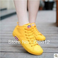 Free shipping! 2013 summer new flat high-top lace canvas shoes tide Korean female British style shoes women white shoes yellow
