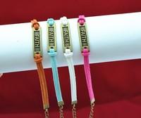 2013 Hot Sale 20 Colors Bronze Faith Handmade Charms Bangle Bracelets Jewelry 40PCS/LOT Free Shipping