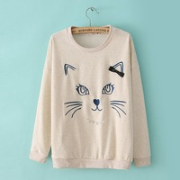 On Sale Free Shipping,2013 New Arrival Cartoon Cat Hoodie Coat for Women Fashion Cartton Animal Pullover Sweatshirt