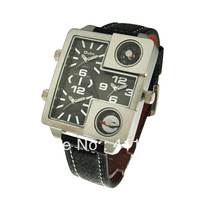 Wholesale Oulm Military Genuine Leather Band Rectangle Dial Wrist Men's  Watch with Three Quartz Japan Movet Stainless Steel