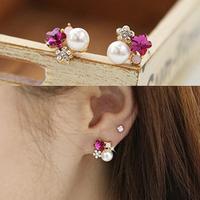 E179 David jewelry wholesale  Female ol elegant flower crystal rhinestone pearl earrings stud earring  brand jewelry 2013