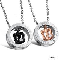 2014 18K rosh gold quartz crystal pendulum pendant classic rhinestone titanium necklace kolye kadin erkekler taki