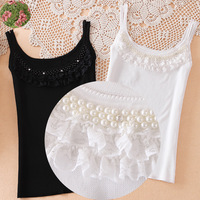 2013 autumn women's top sexy spaghetti strap lace beading small vest basic top female