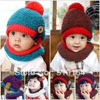 Free Shipping! Hot Selling Winter & Autumn Children Solid With Button Hat+Scarf Set