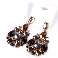E005 Fashion  retro gold finishing full rhinestone multi-colored large particles gem drop luxury drop earring  TC- 5
