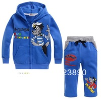 Retail boy Wolf cartoon suits  blue Cartoon printed Hooded+pants boy's 2 piece suits