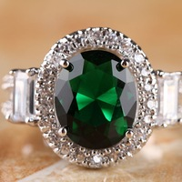 NEW OVAL CUT EMERALD QUARTZ & WHITE TOPAZ  SILVER RING SIZE 7 R1-03209