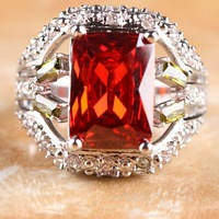 NEW EMERALD CUT GARNET & PERIDOT & WHITE TOPAZ  SILVER RING SZ 10 R1-01262