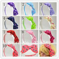 Trail order girl Grosgrain Ribbon bow hairbands polka dots ribbon bow on satin covered headbands hair accessory 20 pcs/lot