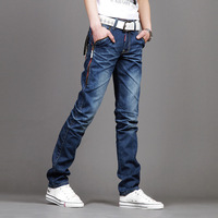 2013 slim straight male water wash the trend of zipper jeans
