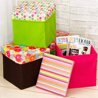 Fashion print storage stool large capacity square storage stool multifunctional change a shoe stool storage box storage box
