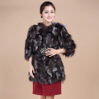 freeshipping real fur fox Medium-long slim belt for a long-sleeve wool fur outerwear for women ccoat whosesale/retail