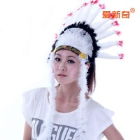 Halloween party cosplay item feather hair accessory beautiful feather cap women hat Indian chief wears