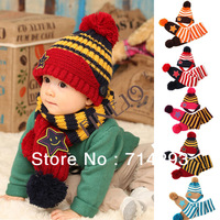 New Cute Smiling Star Stripe Babies' Winter Knitting Beanie Cap & Scarf Sets 5 Colors 18273