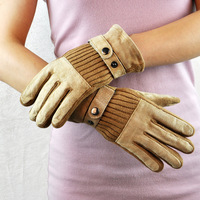 Winter two-in-one casual gloves flannelet thickening wear-resistant safety gloves pigskin gloves