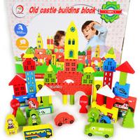 Best Gift For Child 100% wooden toys multi colour 53 blocks educational toys City