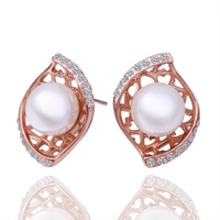 New Arrived Fashion Jewelry 18K Rose Gold Plating High Quality Pearl Stud Earrings Women Birthday Gift Earring 18KGP E296
