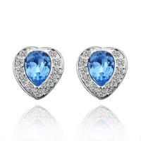 Summer Hot Sale Austrian Crystal Women Earrings Wholesale High Quality Fashion Heart Jewelry Sapphire Earrings 18KGP E293