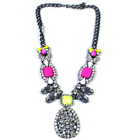 style black nickel new short necklace with red and green fluorescence SM711