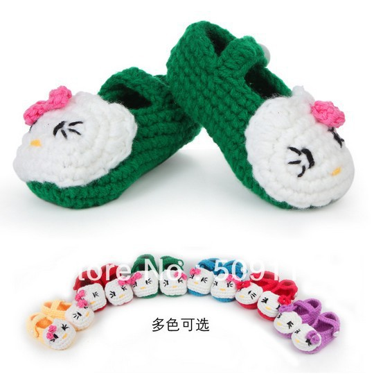 Hot design handmade crocheted baby shoes Infant First Walkers shoes Toddler shoes Free shipping 20pairs S023(China (Mainland))