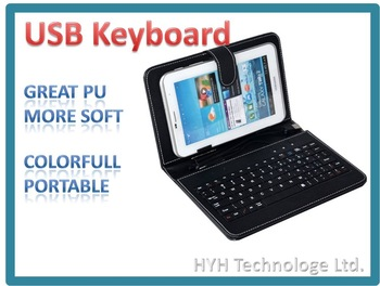 For 7'' Tablet, Colorfull Portable Leather USB / MICRO / MINI Keyboard Cases, Free Shipping