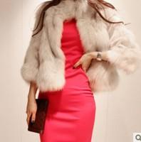 Women's fur coat fox fur coat short design fur collar overcoat plus size