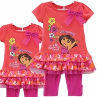 ON sales Girls summer suits  dora dresses with leggings 2pcs set
