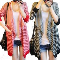 Korean Fashion Stripe Cardigan Women Medium-long Slim Casual Shawl Irregular Loose Jacket Coat Outwear Free Shipping By HK Post