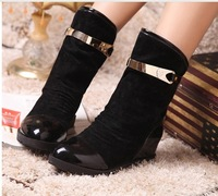 New arrival winter boots patent leather motorcycle boots mid calf boots for women Martin boots shoes 5cm