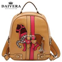 Girls Cute Genuine Leather Cartoon Backpacks with Horses School Bag Ipad Case Free Shipping M130906