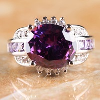 NEW OVAL CUT AMETHYST & WHITE TOPAZ  SILVER RING SIZE 10 R1-02254