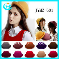 high quantity winter girl's 100% pure wool felt bowler & derby hat cap for women, fedora hat, 11 colors free shipping China post