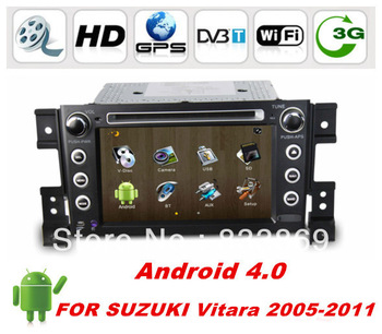 "Best Selling Touch Screen 7 ""Android 4.0 Car DVD for Suzuki Grand Vitara with GPS Navi bluetooth radio ipod SWC 1G CPU"