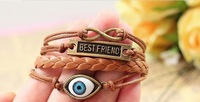 New Jewelry 2013 Elegant Evil eye Charms Jewelry The Best Friend Infinity Leather Bracelet Free Shipping HeHuanSLQ009
